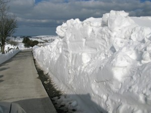 Snow build up in Dromara