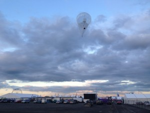 Aerostat flying in the evening over Balmoral Show